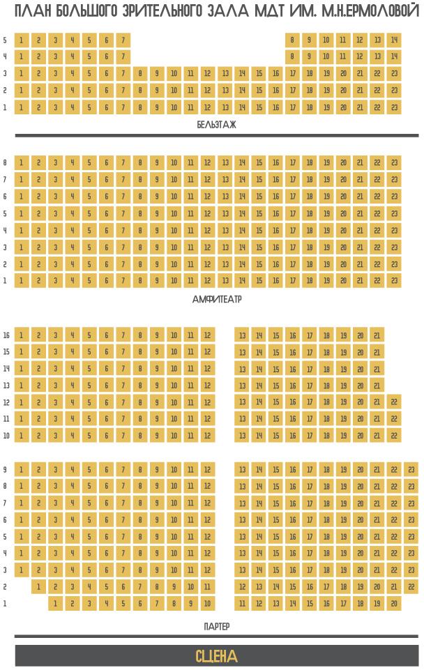 Схема зала Театр Ермоловой.